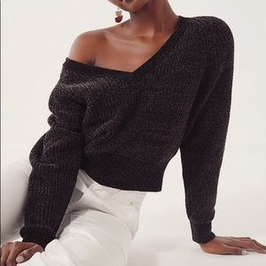 UO Black Chenille V-Neck Sweater